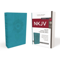Anglais, Bible NKJV, value thinline Bible Large Print, Leathersoft, Blue, Red Let.